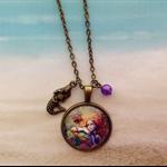 Mermaid Design Glass Cabochon Bronze Setting Chain Pearl Bead Pendant Jewellery