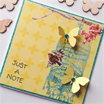 Bird birdcage yellow vintage flowers blooms butterfly just a note thank you card