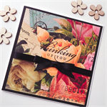 Thinking of you vintage flowers blooms sympathy  card