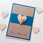 Congratulations kraft teal aqua wedding day wooden lasercut heart love card