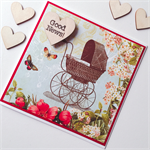 Good news new baby boy girl vintage floral congratulations card