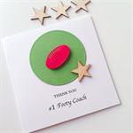 Thank you #1 footy COACH football ball sport star wooden card