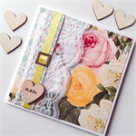 Mr & Mrs wedding congratulations vintage floral wooden heart lace card
