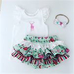 Order for Caitlin Xmas ruffle bloomers & lace flutter slv top reindeer applique