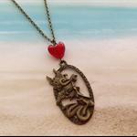 Bronze Mermaid Charm Red Heart Bead Chain Necklace Pendant Beach Jewellery
