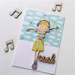 Cool wooden lasercut girl music dance sky clouds her daughter friend card