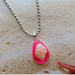Nautical Real Sea Shell Pink Resin Pendant Necklace Beach Jewellery