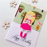 Happy birthday wooden girl woodland forest bird tree her daughter friend card
