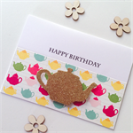 Gold glitter teapot happy birthday bright funky sassy her friend card