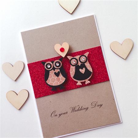 Wedding Day congratulations love owls wooden lasercut heart kraft red card