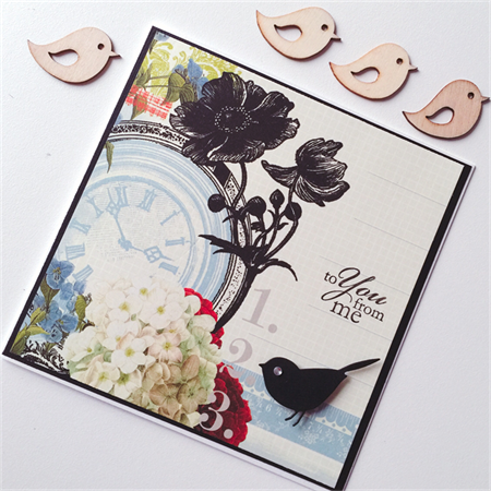 Vintage flowers blooms clock bird blue black to you from me blank card