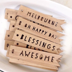 3 Bamboo word tags Birthday Wedding favour Thank You Choose your own