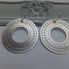 Egyptian Round Hand Cast Rhodium Plated Earrings with Ball End French Nickel Fre