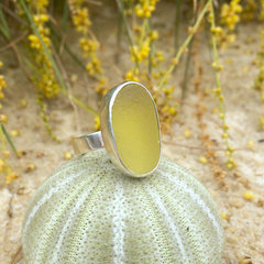 Lemon Sea Glass Ring