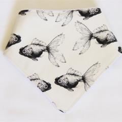 Stylish Goldfish Bandana Dribble Bib with Double Layered Cotton Flannel Backing