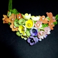 Pastel flowers polymer clay necklace