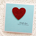 4 Custom Christmas cards  Xmas red glitter heart With Love