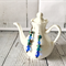 Silver earrings with sky blue ocean blue beads.