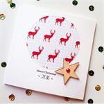 SET OF 5 red deer reindeer merry christmas 2016 him her lasercut wood star card