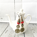 Steampunk styled red beaded antique bronze earrings with small gears