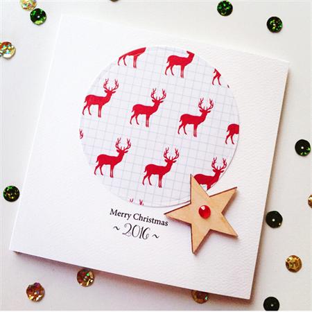 SET OF 6 red deer reindeer merry christmas him her lasercut wood star card