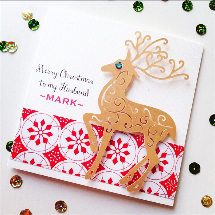To my Husband Merry Christmas red him lasercut gold deer card ...