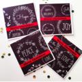 SET OF 4 Merry christmas graffiti black chalkboard funky fun red white card