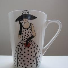 Hand Painted bone china mug featuring sewing patterns