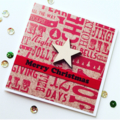 Merry christmas red kraft him her laser cut star graffiti print card