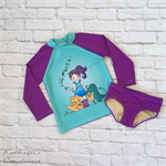 Dino Girl Long Sleeve Swim Set - Size 5 - UPF50+
