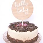Hello Baby Wood Cake Topper / Baby Shower / Birthday