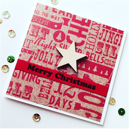 SET OF 6 Merry christmas red kraft him her laser cut star graffiti print card