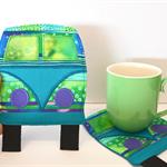 camper mug rug, van coaster, quirky coaster, drink mat
