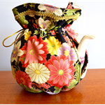 Japanese floral tea cosy, reversible cosy, insulated tea cosy