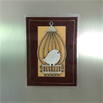 Little Bird and Cage on Brown Leather Look Fridge Magnet
