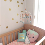 Peach Mint Gold Felt Ball Baby Mobile
