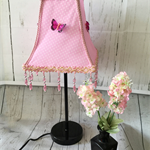 Beautiful ballerina pink lampshade with fuchsia pink butterflies and beaded trim