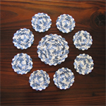 Teal, Blue and White Hand Crocheted Doily and Eight Coasters