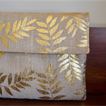Jute clutch, burlap wallet, hessian envelope clutch, gold leaf wallet