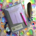 Lilac Handmade Paper Writing Set in Grey Folio with Pink Pen