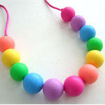 Kids rainbow silicone necklace BPA FREE Teething toy - washable
