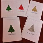 Pack of five Handmade Embossed Christmas Cards.