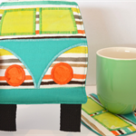 Mug rug, camper coaster, kombi coaster, retirement teacher gift, bus coaster