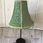 Elegant sea green lampshade with  pastel green lace and green beaded trim.