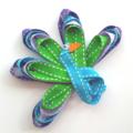 Peacock ribbon hair clip