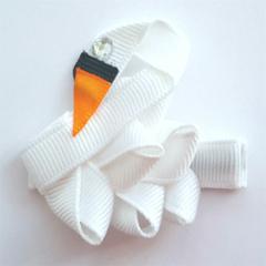 Swan ribbon hair clip