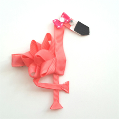 Flamingo ribbon hair clip