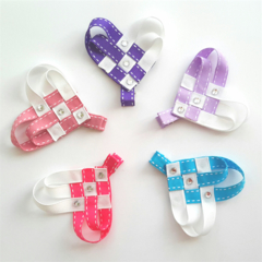 Single heart-weave grosgrain ribbon hair clip - YOU CHOOSE COLOUR