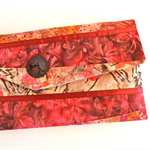 Pink batik clutch, patchwork wallet, Bali purse