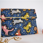 Tablet case, blue wallet, Cat clutch, colourful envelope wallet